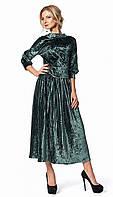 Женский костюм из бархата: блуза и юбка бутылочного цвета. Модель 664, коллекция осень-зима 2017-2018