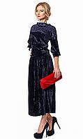 Женский костюм из бархата: блуза и юбка темно-синего цвета. Модель 664, коллекция осень-зима 2017-2018
