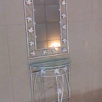 Набор зеркало столик средний белый