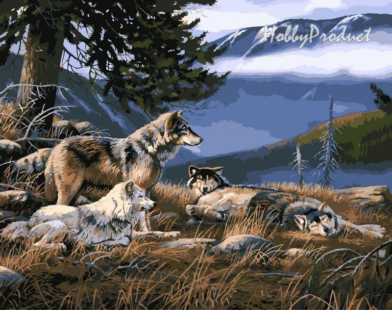 Набор-раскраска по номерам Волчье убежище худ. Дэвис Даррелл