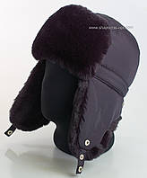Зимняя шапка-ушанка для мужчин темно-синего цвета