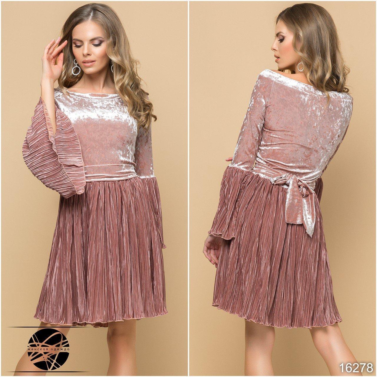 7fc526a1d5a Вечернее бархатное платье розового цвета с плиссированной юбкой. Размеры 42- 48. Модель 16278