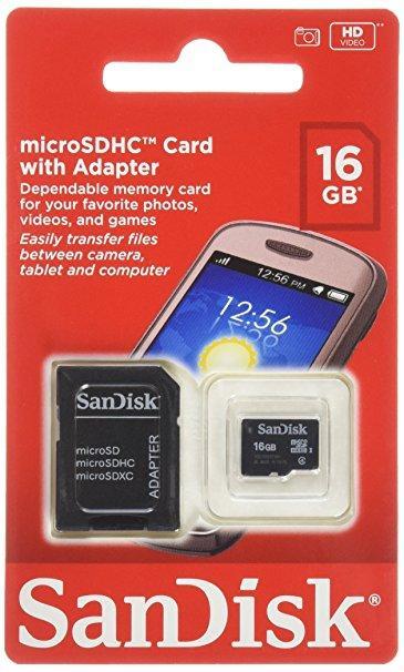 Карта памяти MicroSDHC SanDisk 16GB (class 10) + SD адаптер