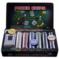 Набор для покера 300 фишек с номиналом в металлической коробке №300T-X