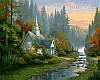VP136 Набор-раскраска по номерам Домик на рассвете худ. Кинкейд Томас