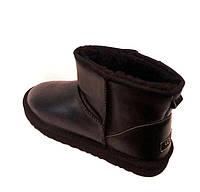 Угги мужские Mini Ugg натуральные кожаные внутри натуральная овчина черные KF0493