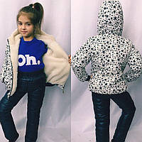 Зимний костюм куртка +штаны на девочку, синтепон + овчина, размеры 116;122;128 см