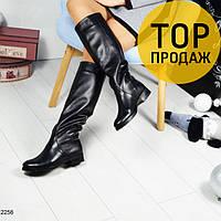 Женские зимние сапоги-трубы, черного цвета / сапоги женские кожаные, теплые, модные