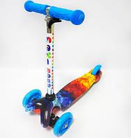 Детский 3 х колесный Самокат Scooter Maxi Baby Синий Огонь или лед (руль от 50-71 см, от 2 лет, до 35 кг)