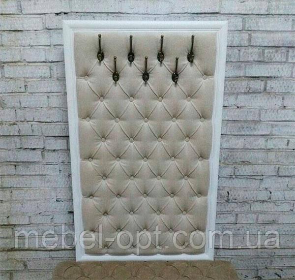 Настенная панель вешалка с крючками Капитоне с каретной стяжкой, выбор стиля, размера, цвета и материала
