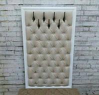 Настенная панель вешалка с крючками Капитоне с каретной стяжкой, выбор стиля, размера, цвета и материала, фото 1