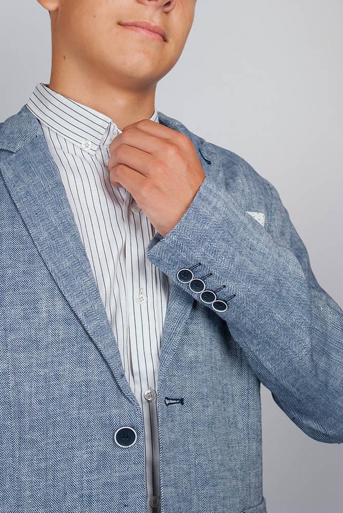 Пиджак мужской светлый 197F009 junior (Бело-синий)
