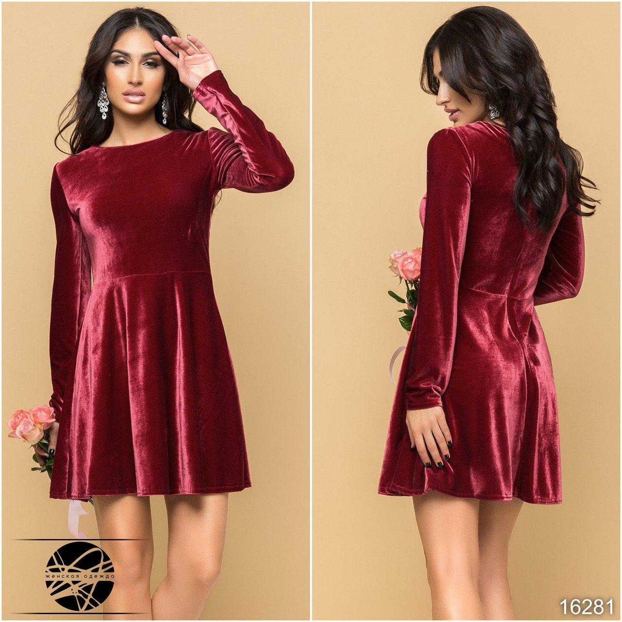 7bee248add9 Молодежное вечернее платье из бархата бордового цвета. Размеры 46 48.  Модель 16281