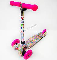 Детский 3 х колесный Самокат Scooter Maxi Baby Розовые фрукты (руль от 50-71 см, от 2 лет, до 35 кг)