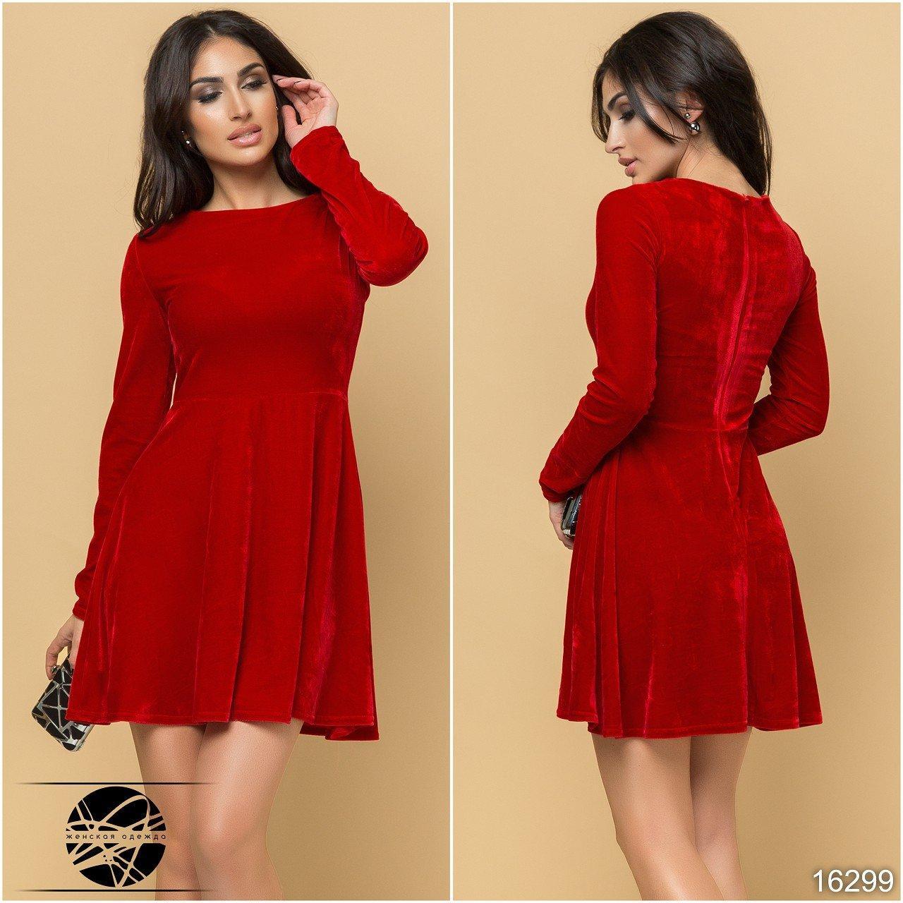 710717cd6e3 Молодежное вечернее платье из бархата красного цвета. Размеры 42-48. Модель  16299
