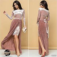 8568c4b2205 Вечернее бархатное платье розового цвета со съемной юбкой плиссе. Размеры  42-48. Модель