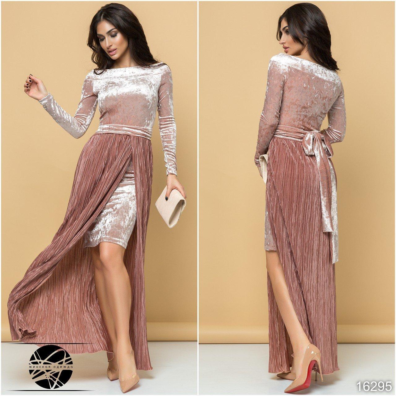 02518fa55e1 Вечернее бархатное платье розового цвета со съемной юбкой плиссе. Размеры 42 -48. Модель