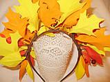 Осенний обруч с листьями и ягодами в желто красном цвете 600 грн, фото 6