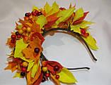 Осенний обруч с листьями и ягодами в желто красном цвете 600 грн, фото 4