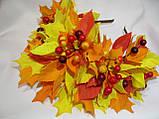 Осенний обруч с листьями и ягодами в желто красном цвете 600 грн, фото 5