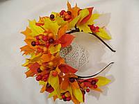 Осенний обруч с листьями и ягодами в желто красном цвете 600 грн, фото 1