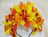 Осенний обруч с листьями и ягодами в желто красном цвете 600 грн, фото 2