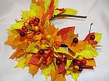 Осенний обруч с листьями и ягодами в желто красном цвете 600 грн, фото 3