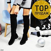 Женские зимние ботфорты на низком каблуке, черные / сапоги высокие женские замшевые, теплые, стильные