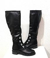 Сапоги женские высокие зимние кожа натуральная на низком каблуке черные Uk0508