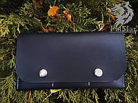 "Портмоне кошелек, гаманець ""Скриня"" ручної роботи, натуральна шкіра, на кнопках, клатч"