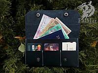 "Портмоне кошелек, гаманець ""Скриня"" ручної роботи, натуральна шкіра, на кнопках, клатч, фото 1"