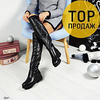 Женские зимние ботфорты на низком каблуке, черные / сапоги высокие женские кожаные, теплые, стильные