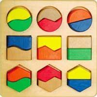 Собери фигуры- логический планшет (9 геометрических пар-половинок)