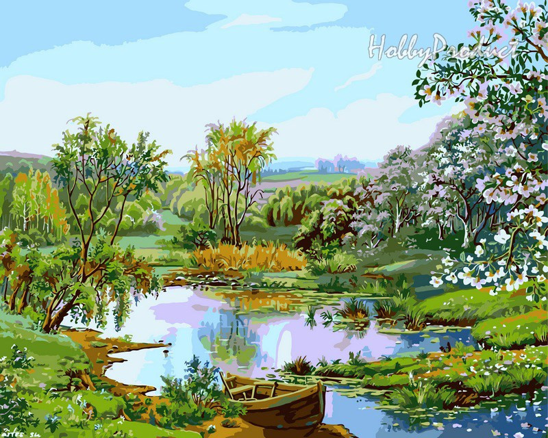 VP166 Набор-раскраска по номерам Цветущий берег худ. Цыганов Виктор