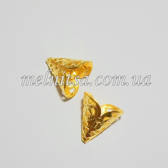 "Концевик-колпачек  ""Конус"", 1,7 см, золото, 2 шт."