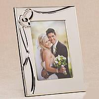 Свадебная фоторамка металлическая с кольцами, 24,5х19,5 см