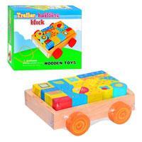 Конструктор деревянный в ящике с колесами  MD0347