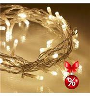 Гирлянда LED 100 теплая белая ( гирлянда новогодняя теплая белая )