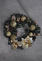 Венок из хвои рождественский 40 см. Золотой декор. Новогодние украшения., фото 1