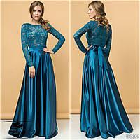 Вечерний комплект: атласная юбка макси и гипюровая блуза со стразами бирюзового цвета. Р 42-46. Модель 16322