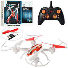 Квадрокоптер р/у 2,4G,аккум,свет, USBзарядное,запасные лопасти