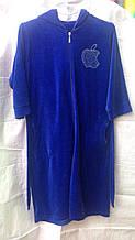 Велюровый женский халат Apple средней длины  46-50р  цвета в ассортименте