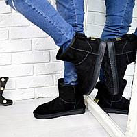 Угги женские Бант черные, обувь женская зимняя