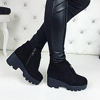 Женские зимние ботинки чёрные замшевые