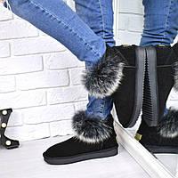 Угги женские Опушка песец, обувь женская зимняя