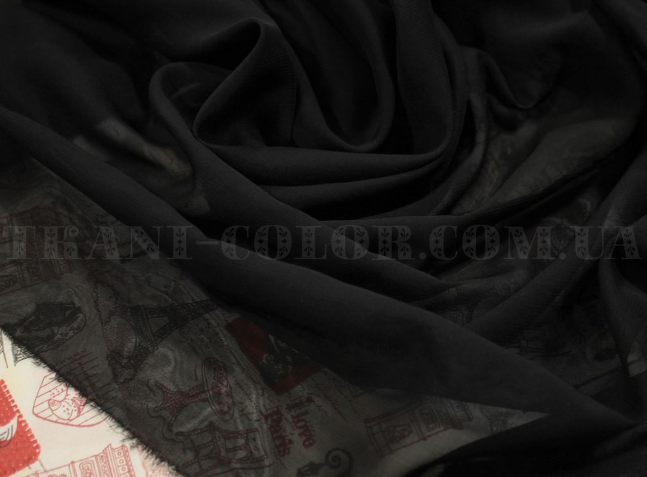 Ткань шифон черный