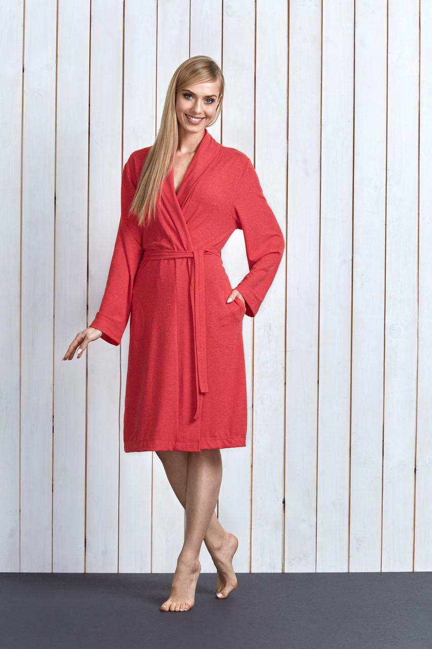 Віскозний жіночий халат на запах із кишенями LL CHIC