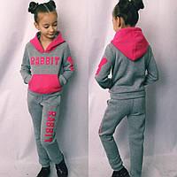 Спортивный костюм подростковый теплый для девочек, ткань трехнитка с начесом, размеры 128;134;140 см