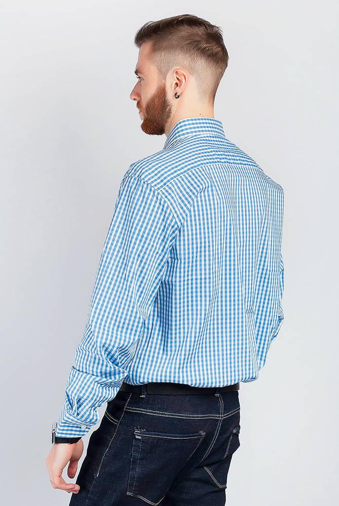 Рубашка классическая мелкая клетка 714K001-3 (Бело-голубой)