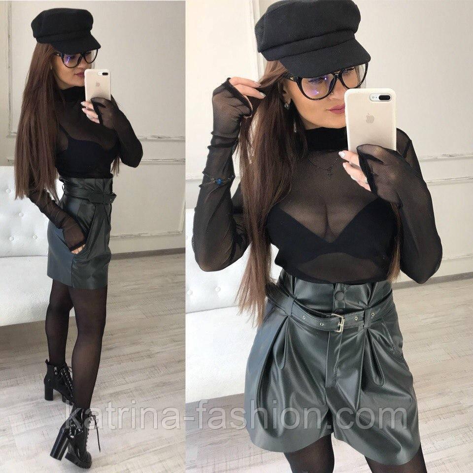 Женские красивые шорты-юбка с высокой посадкой с поясом (5 цветов)